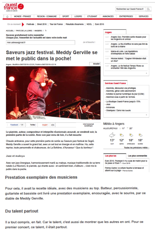 Saveurs jazz festival. Meddy Gerville se met le public dans la poche